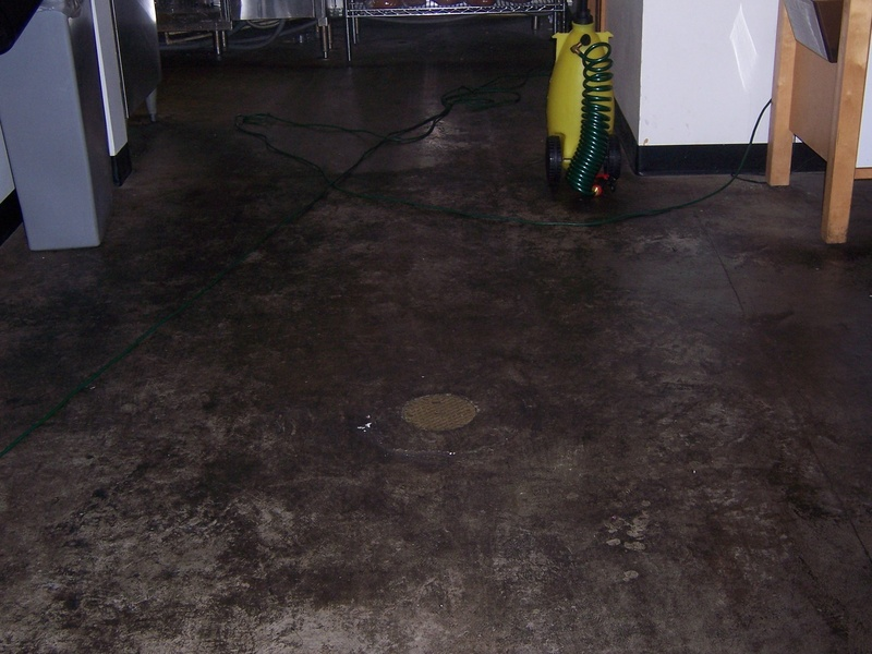 Concrete floor in restaurant